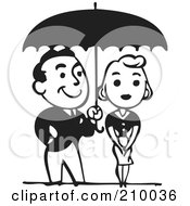 Royalty Free RF Clipart Illustration Of A Retro Black And White Couple Under An Umbrella