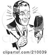 Royalty Free RF Clipart Illustration Of A Retro Black And White Man Speaking Into A Microphone by BestVector #COLLC210039-0144