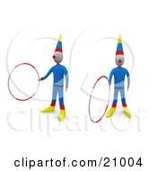Clipart Illustration Of Two Entertaining Circus Clowns Doing Tricks With Hoops by 3poD