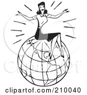 Royalty Free RF Clipart Illustration Of A Retro Black And White Woman Sitting On Top Of A Globe