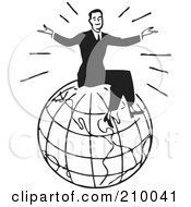 Royalty Free RF Clipart Illustration Of A Retro Black And White Man Sitting On Top Of A Globe by BestVector