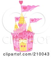 Royalty Free RF Clipart Illustration Of A Pink And Yellow Fairy Tale Castle With Pink Heart Flags