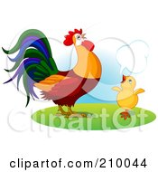 Royalty Free RF Clipart Illustration Of A Little Chick Talking To A Rooster by Pushkin