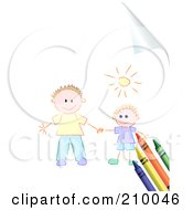 Royalty Free RF Clipart Illustration Of Crayons And Sketched Kids On A Turning Page