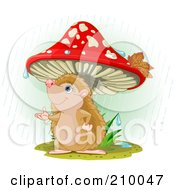 Royalty Free RF Clipart Illustration Of A Cute Hedgehog Catching A Raindrop Under A Mushroom by Pushkin