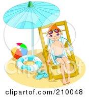 Little Boy Drinking Water And Relaxing Under A Beach Umbrella