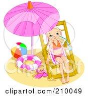 Little Girl Drinking Water And Relaxing Under A Beach Umbrella