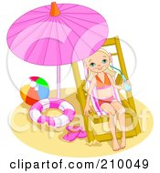 Royalty Free RF Clipart Illustration Of A Little Girl Drinking Water And Relaxing Under A Beach Umbrella