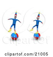 Two Circus Clowns Maintaining Their Balance On Balls
