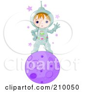 Cute Astronaut Boy Waving And Standing On A Purple Planet
