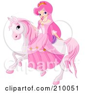 Royalty Free RF Clipart Illustration Of A Pretty Princess Riding On A Pink Horse
