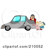 Royalty Free RF Clipart Illustration Of A Woman Checking Behind Her Car To Find Two Children