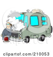 Royalty Free RF Clipart Illustration Of A Confused Male Mechanic Working On A Motorhome by Dennis Cox