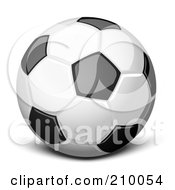 Royalty Free RF Clipart Illustration Of A 3d Soccer Ball With Black And Orange Marks