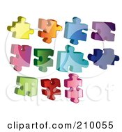 Digital Collage Of Colorful Puzzle Pieces