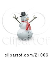 Happy Snowman In A Red Scarf Holding His Arms Up In The Wind