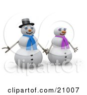 Clipart Illustration Of A Happy Snowman Holding Hands With His Wife