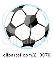 Royalty Free RF Clipart Illustration Of A Soccer Ball With A Blue Outline