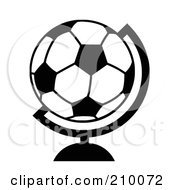 Royalty Free RF Clipart Illustration Of A Black And White Soccer Ball Desk Globe