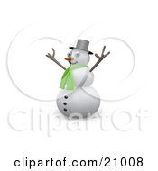 Clipart Illustration Of A Jolly Snowman Wearing A Green Scarf Holding His Arms Up In The Air