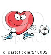 Royalty Free RF Clipart Illustration Of A Red Heart Soccer Player Chasing A Ball by Hit Toon