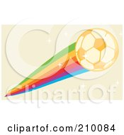 Golden Soccer Ball With A Rainbow On A Sparkly Beige Background