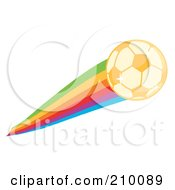 Royalty Free RF Clipart Illustration Of A Golden Sparkling Soccer Ball With A Rainbow