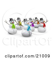 Clipart Illustration Of A Group Of Happy Snowmen Holding Their Arms Up In The Air