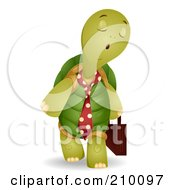 Royalty Free RF Clipart Illustration Of A Cute Business Tortoise Carrying A Briefcase by BNP Design Studio