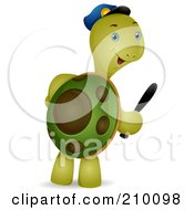 Royalty Free RF Clipart Illustration Of A Cute Security Guard Tortoise Carrying A Baton by BNP Design Studio