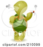 Royalty Free RF Clipart Illustration Of A Bad Tortoise Smoking A Cigarette