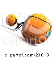 Clipart Illustration Of A Two Orange Sphere Space Ships Or Robots