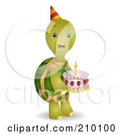 Cute Birthday Tortoise Carrying A Cake