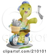 Royalty Free RF Clipart Illustration Of A Cute Tortoise Paper Boy Tossing Newspapers