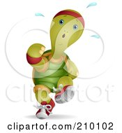 Royalty Free RF Clipart Illustration Of A Cute Jogging Tortoise Sweating by BNP Design Studio