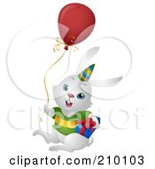 Royalty Free RF Clipart Illustration Of A Cute White Birthday Bunny Rabbit With A Balloon And Gift