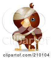 Royalty Free RF Clipart Illustration Of A Cute Injured Bird With A Crutch Cast And Bandages by BNP Design Studio