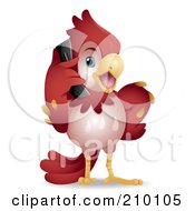 Royalty Free RF Clipart Illustration Of A Cute Red Parrot Talking On A Cell Phone by BNP Design Studio