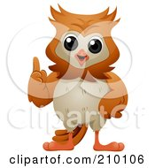 Royalty Free RF Clipart Illustration Of A Cute Owl Talking And Holding Up A Finger