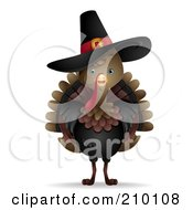 Royalty Free RF Clipart Illustration Of A Cute Thanksgiving Turkey Bird Wearing A Pilgrim Hat