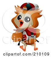 Royalty Free RF Clipart Illustration Of A Cute Owl Student Walking To School With A Backpack