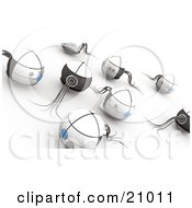 Clipart Illustration Of A Crowd Of White Sphere Robots Or Monsters In A Group