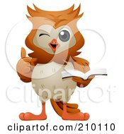 Royalty Free RF Clipart Illustration Of A Cute Owl Winking Holding A Thumb Up And Reading A Book