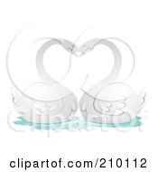 Royalty Free RF Clipart Illustration Of A Romantic Swan Pair Arching Their Necks In The Shape Of A Heart by BNP Design Studio