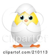 Royalty Free RF Clipart Illustration Of A Cute Chick Peeping Out Of An Egg