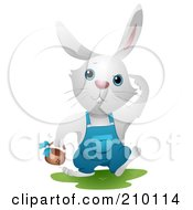 Royalty Free RF Clipart Illustration Of A Cute White Bunny Rabbit Hunting Easter Eggs