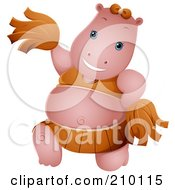 Royalty Free RF Clipart Illustration Of A Cute Cheerleader Hippo