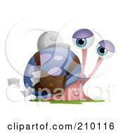 Royalty Free RF Clipart Illustration Of A Snail Mail Worker Dropping Envelopes From A Pouch by BNP Design Studio