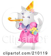 Royalty Free RF Clipart Illustration Of A Cute White Birthday Cat Blowing A Noise Maker