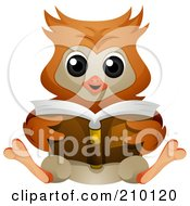 Cute Owl Sitting And Reading A Book